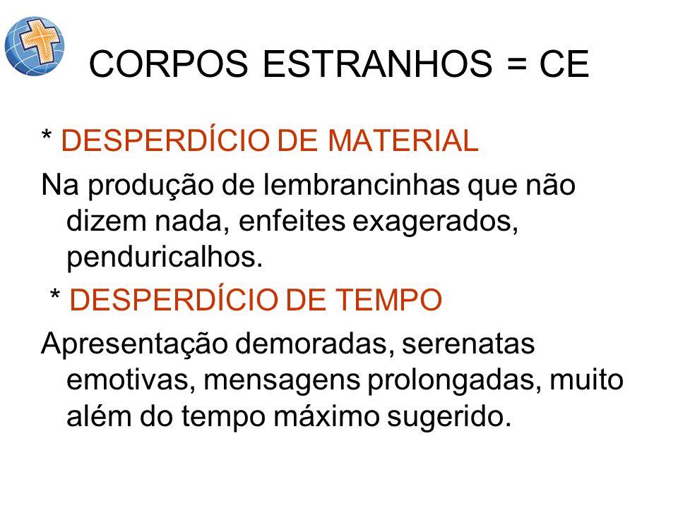 CORPOS ESTRANHOS = CE * DESPERDÍCIO DE MATERIAL