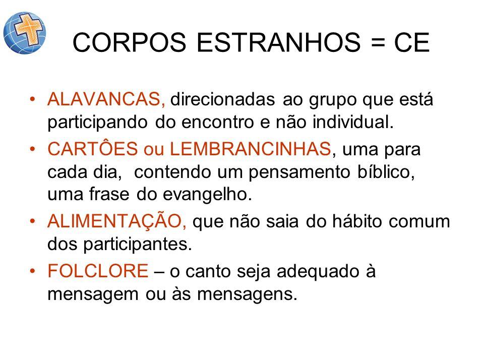 CORPOS ESTRANHOS = CE ALAVANCAS, direcionadas ao grupo que está participando do encontro e não individual.
