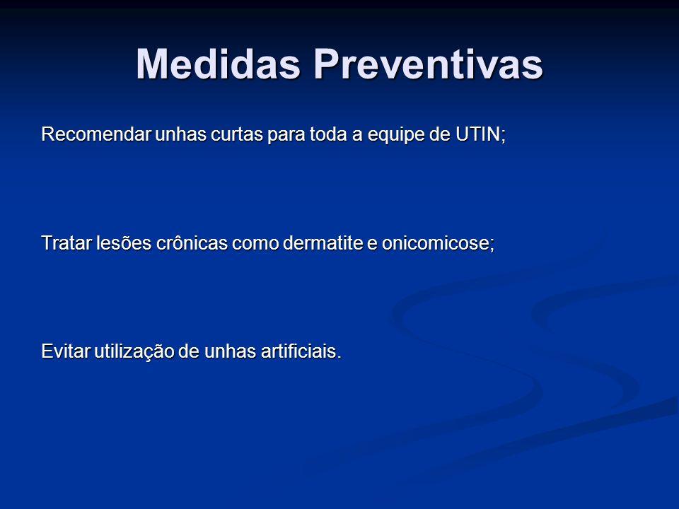 Medidas Preventivas Recomendar unhas curtas para toda a equipe de UTIN; Tratar lesões crônicas como dermatite e onicomicose;