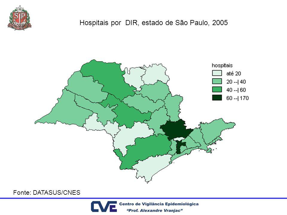 Hospitais por DIR, estado de São Paulo, 2005
