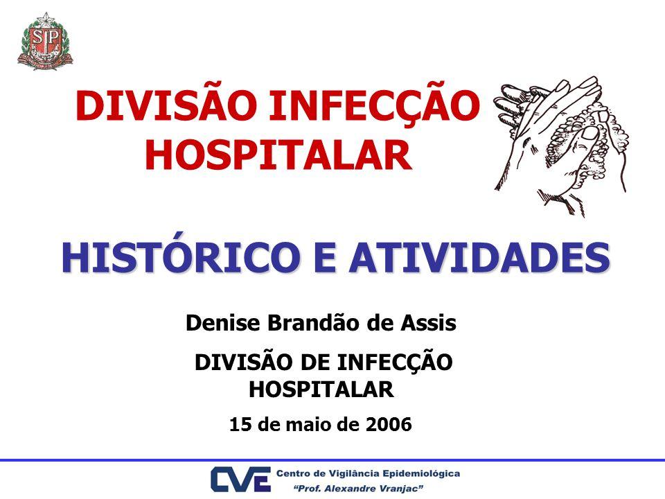 DIVISÃO INFECÇÃO HOSPITALAR HISTÓRICO E ATIVIDADES