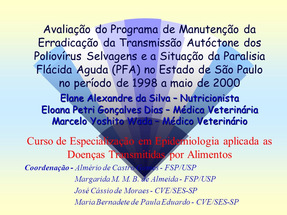 Avaliação do Programa de Manutenção da Erradicação da Transmissão Autóctone dos Poliovírus Selvagens e a Situação da Paralisia Flácida Aguda (PFA) no Estado de São Paulo no período de 1998 a maio de 2000