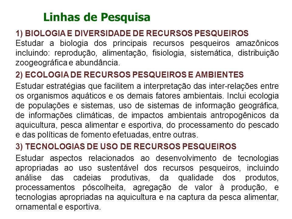 Linhas de Pesquisa 1) BIOLOGIA E DIVERSIDADE DE RECURSOS PESQUEIROS