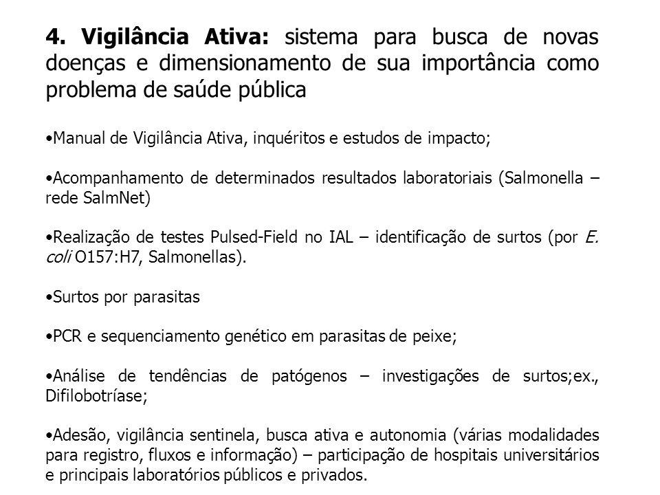 4. Vigilância Ativa: sistema para busca de novas doenças e dimensionamento de sua importância como problema de saúde pública