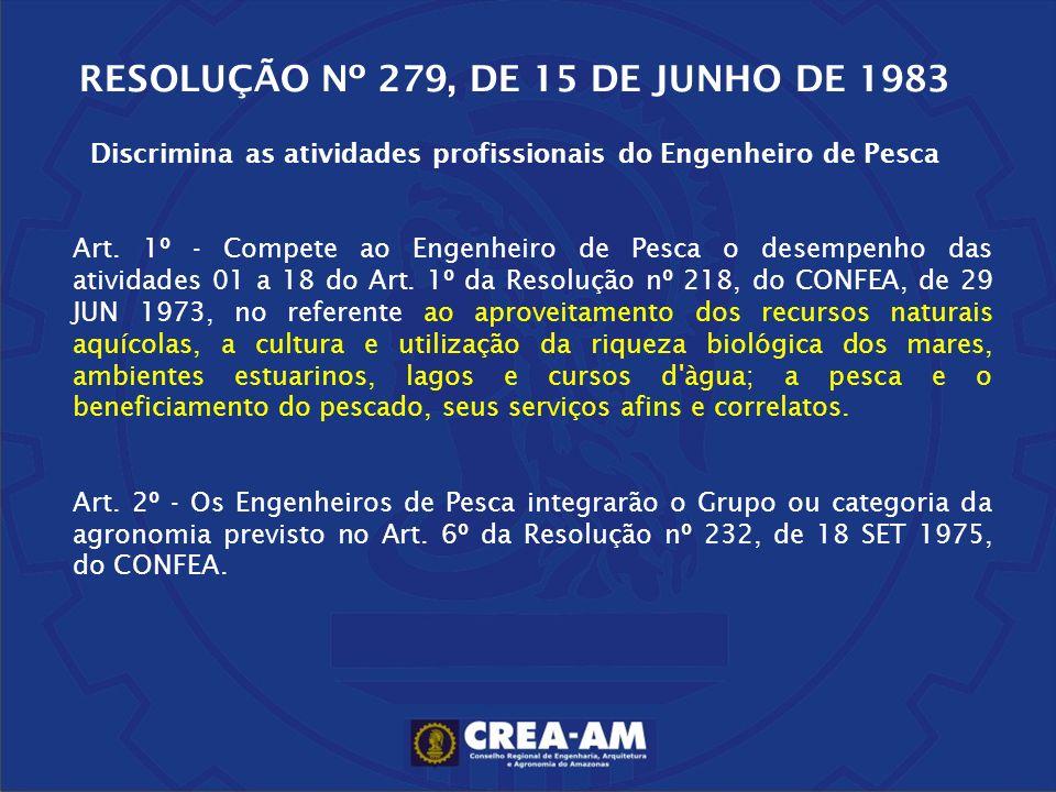 RESOLUÇÃO Nº 279, DE 15 DE JUNHO DE 1983