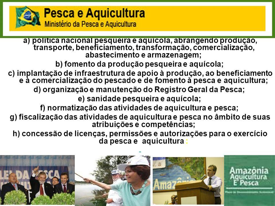 b) fomento da produção pesqueira e aquícola;