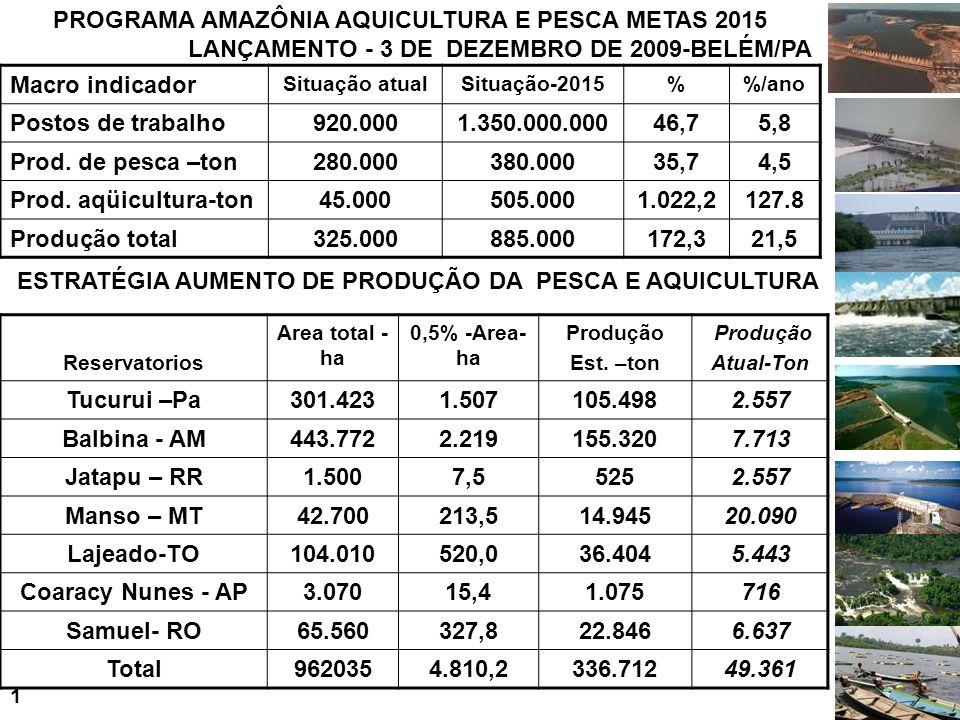 PROGRAMA AMAZÔNIA AQUICULTURA E PESCA METAS 2015