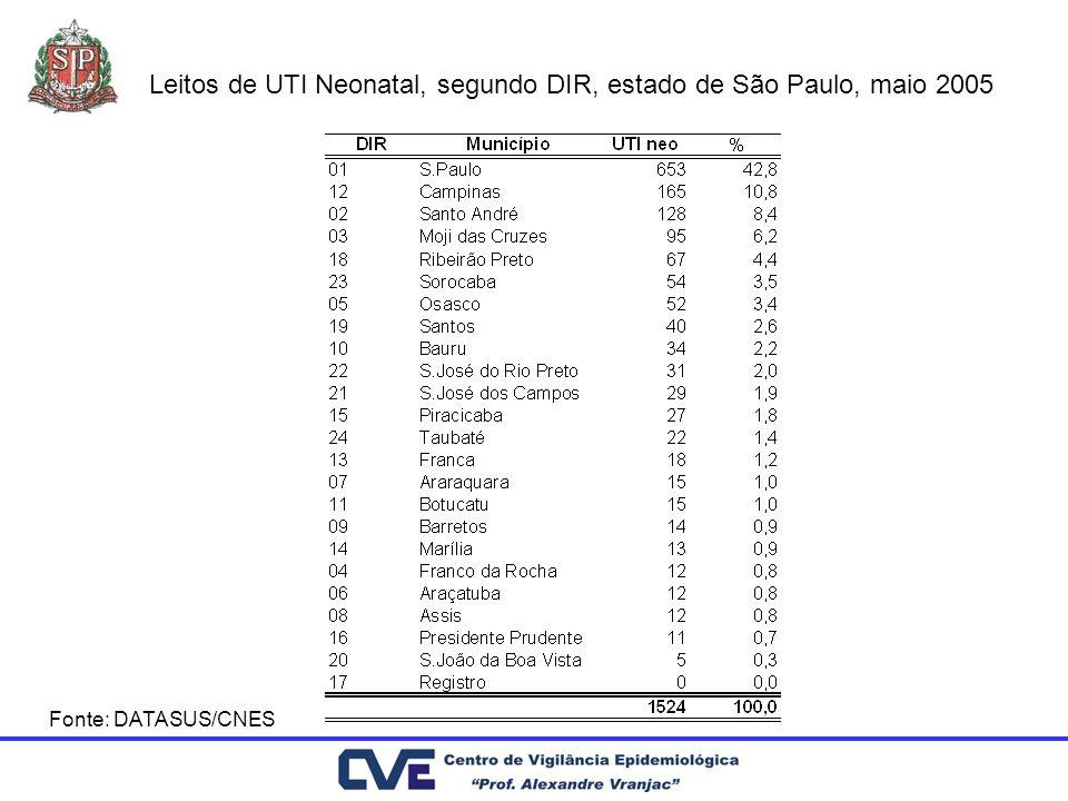 Leitos de UTI Neonatal, segundo DIR, estado de São Paulo, maio 2005