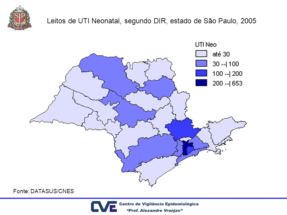 Leitos de UTI Neonatal, segundo DIR, estado de São Paulo, 2005