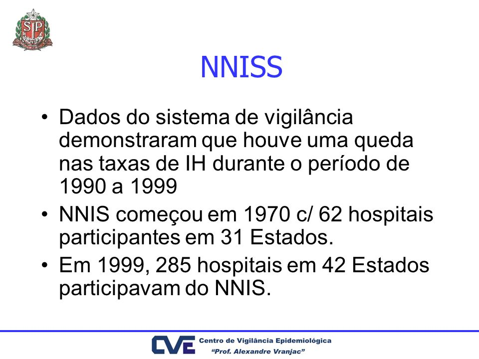 NNISS Dados do sistema de vigilância demonstraram que houve uma queda nas taxas de IH durante o período de 1990 a 1999.