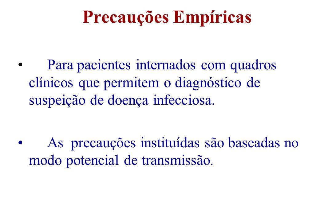 Precauções Empíricas Para pacientes internados com quadros clínicos que permitem o diagnóstico de suspeição de doença infecciosa.