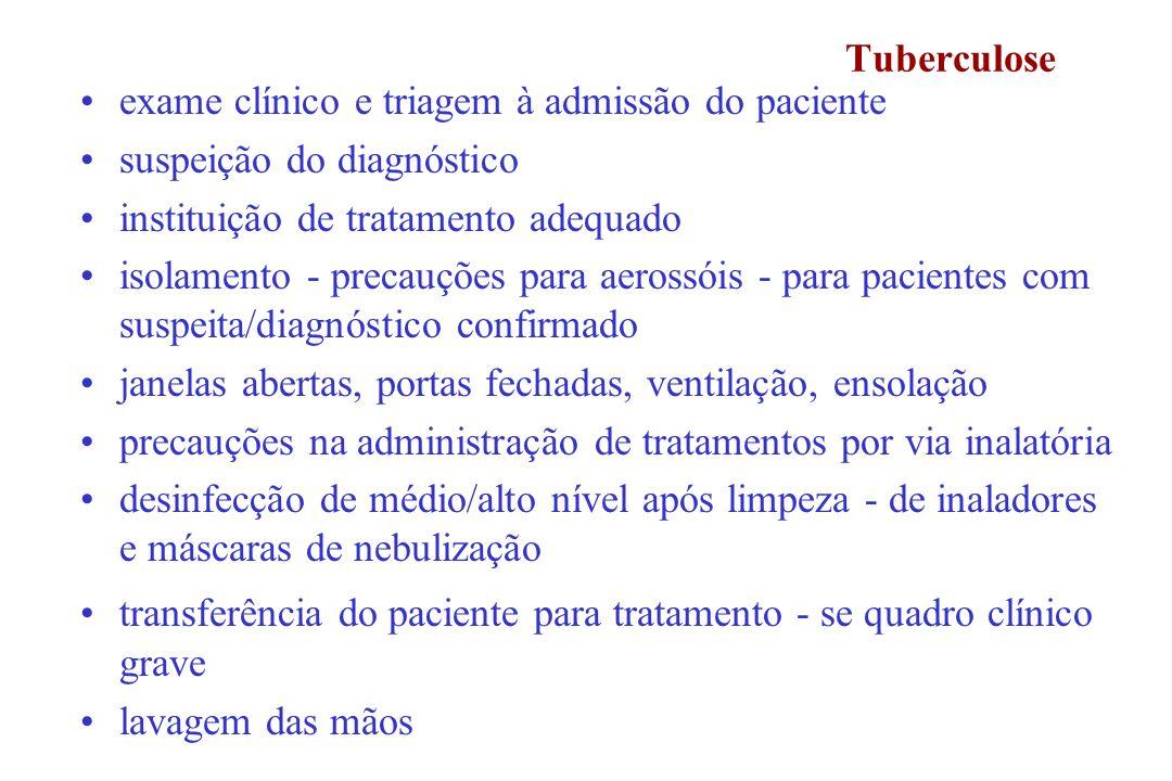 Tuberculose exame clínico e triagem à admissão do paciente. suspeição do diagnóstico. instituição de tratamento adequado.