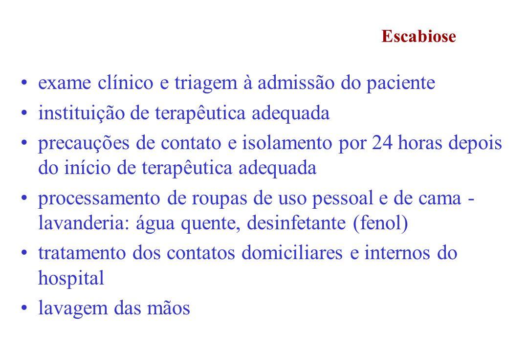 exame clínico e triagem à admissão do paciente