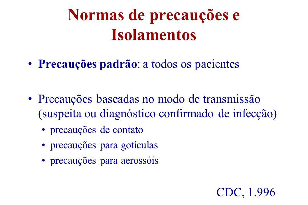 Normas de precauções e Isolamentos
