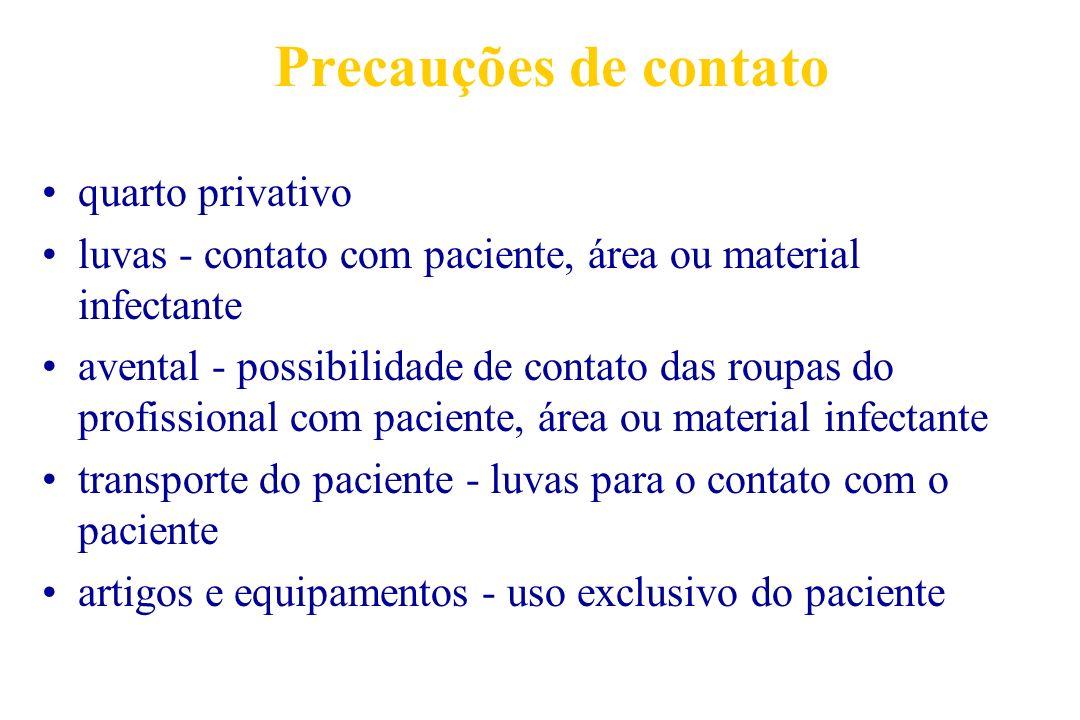 Precauções de contato quarto privativo