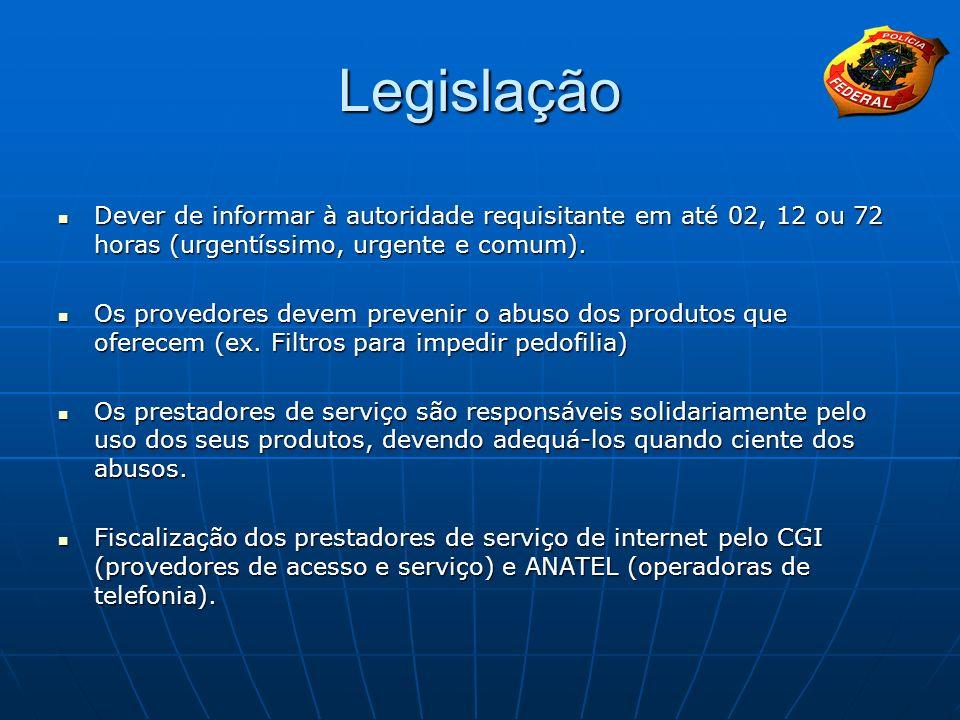 Legislação Dever de informar à autoridade requisitante em até 02, 12 ou 72 horas (urgentíssimo, urgente e comum).
