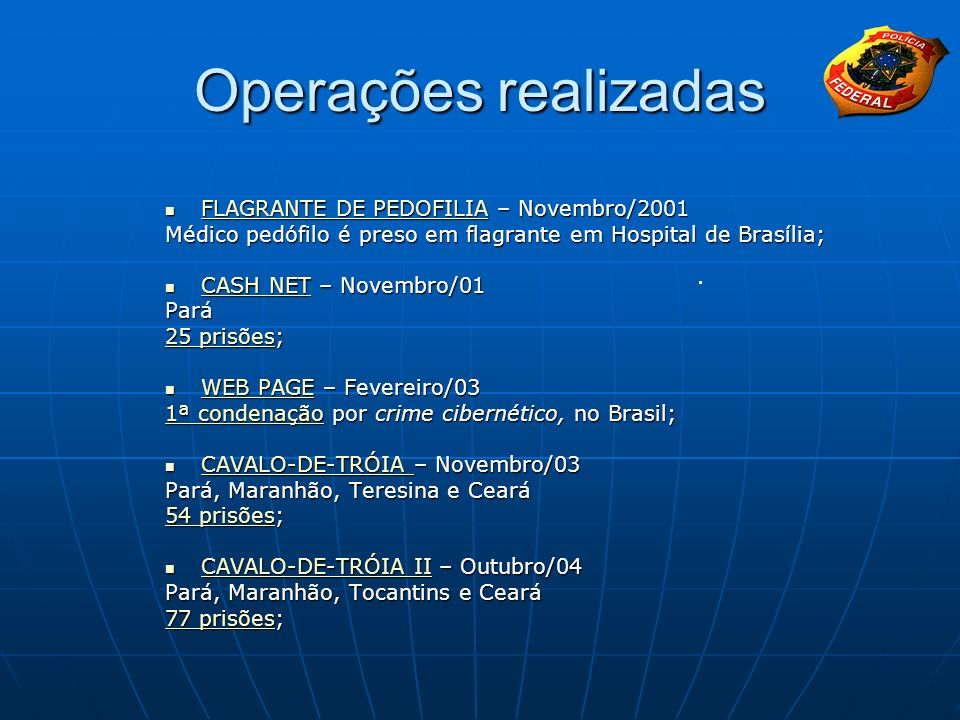 Operações realizadas FLAGRANTE DE PEDOFILIA – Novembro/2001