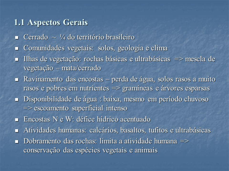 1.1 Aspectos Gerais Cerrado ~ ¼ do território brasileiro