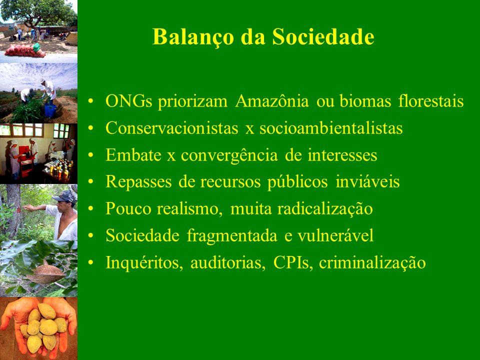 Balanço da Sociedade ONGs priorizam Amazônia ou biomas florestais