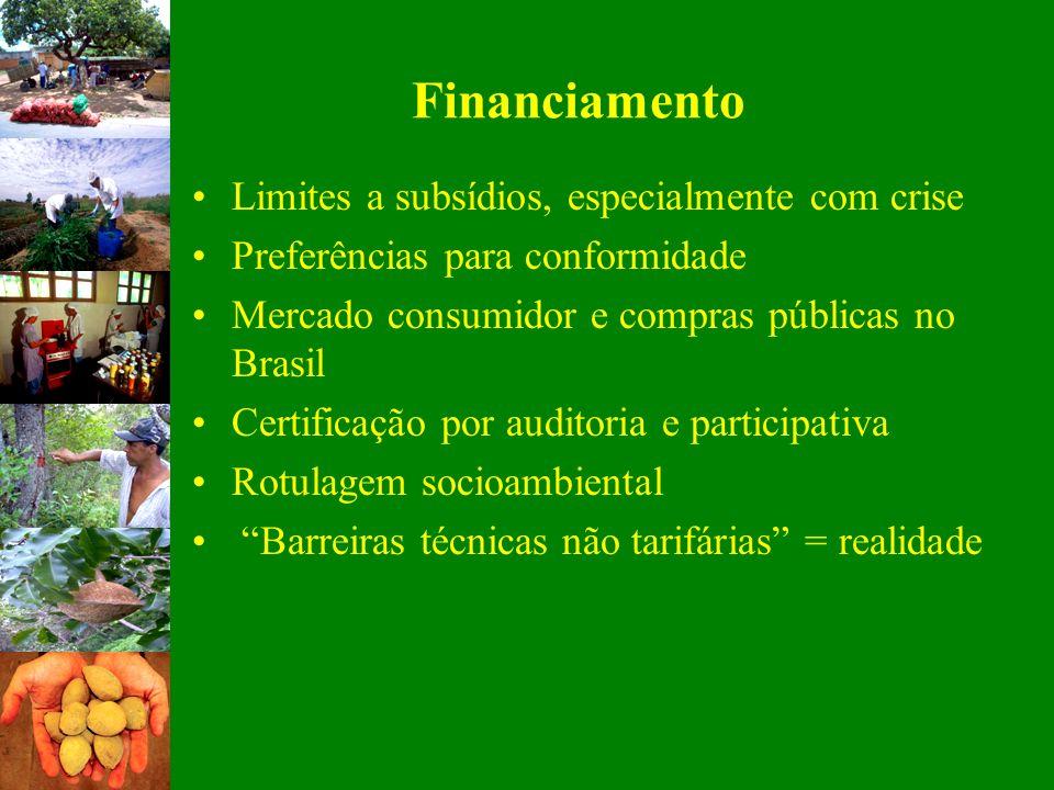 Financiamento Limites a subsídios, especialmente com crise