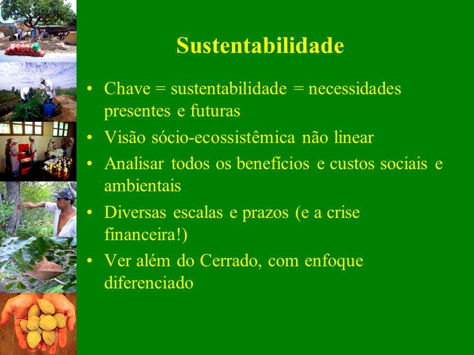 Sustentabilidade Chave = sustentabilidade = necessidades presentes e futuras. Visão sócio-ecossistêmica não linear.