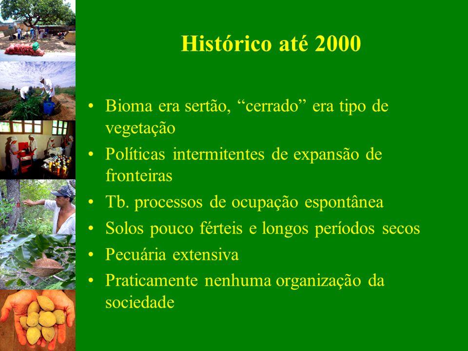 Histórico até 2000 Bioma era sertão, cerrado era tipo de vegetação