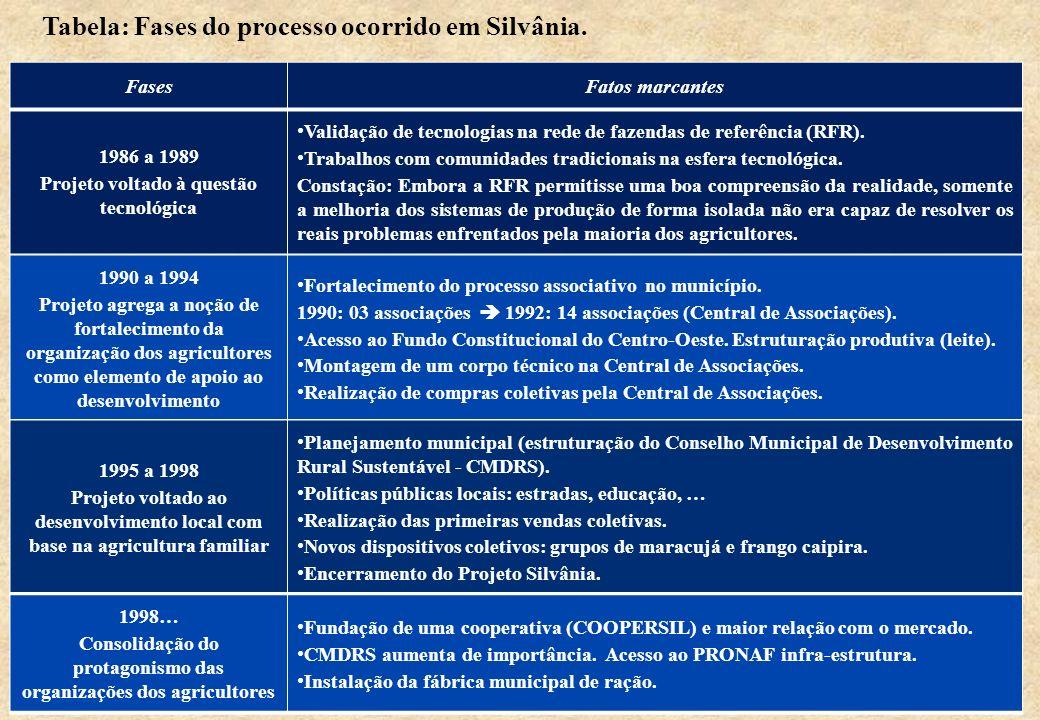 Tabela: Fases do processo ocorrido em Silvânia.