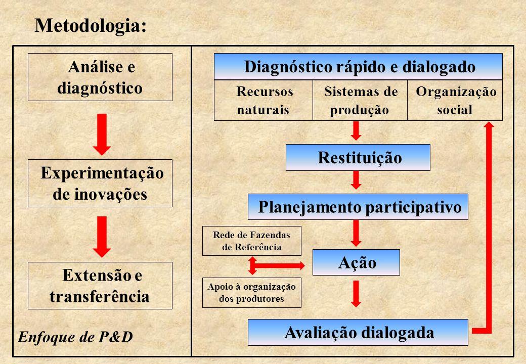 Metodologia: Análise e diagnóstico Experimentação de inovações