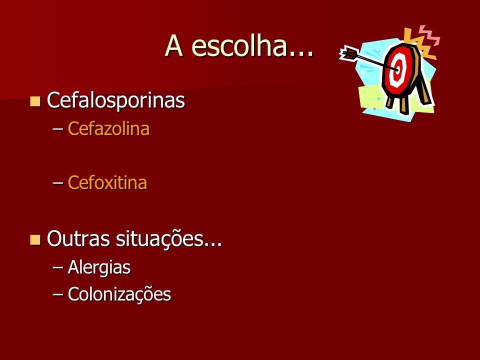 A escolha... Cefalosporinas Outras situações... Cefazolina Cefoxitina
