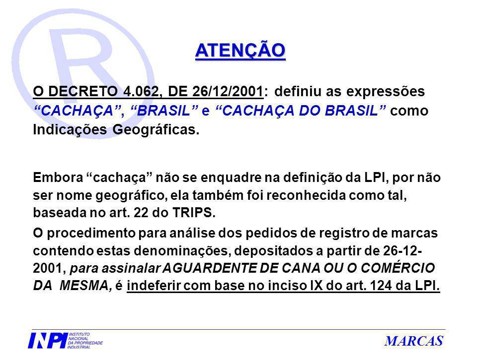 ATENÇÃO O DECRETO 4.062, DE 26/12/2001: definiu as expressões CACHAÇA , BRASIL e CACHAÇA DO BRASIL como Indicações Geográficas.
