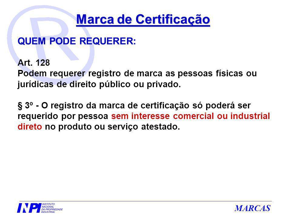 Marca de Certificação QUEM PODE REQUERER: Art. 128