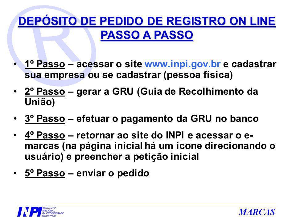 DEPÓSITO DE PEDIDO DE REGISTRO ON LINE PASSO A PASSO