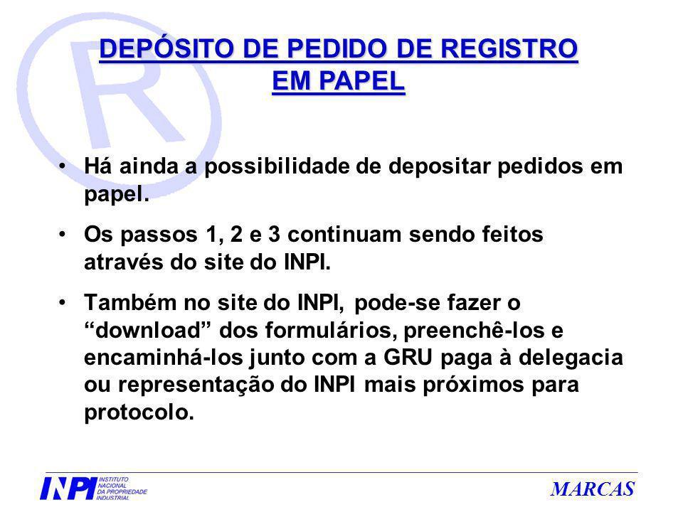 DEPÓSITO DE PEDIDO DE REGISTRO EM PAPEL