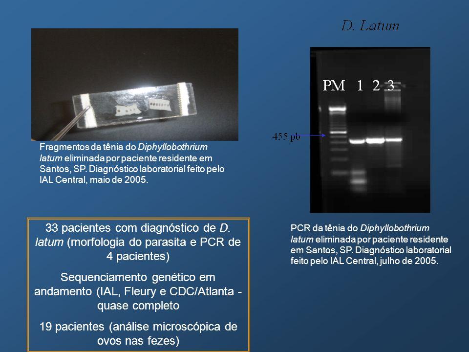19 pacientes (análise microscópica de ovos nas fezes)