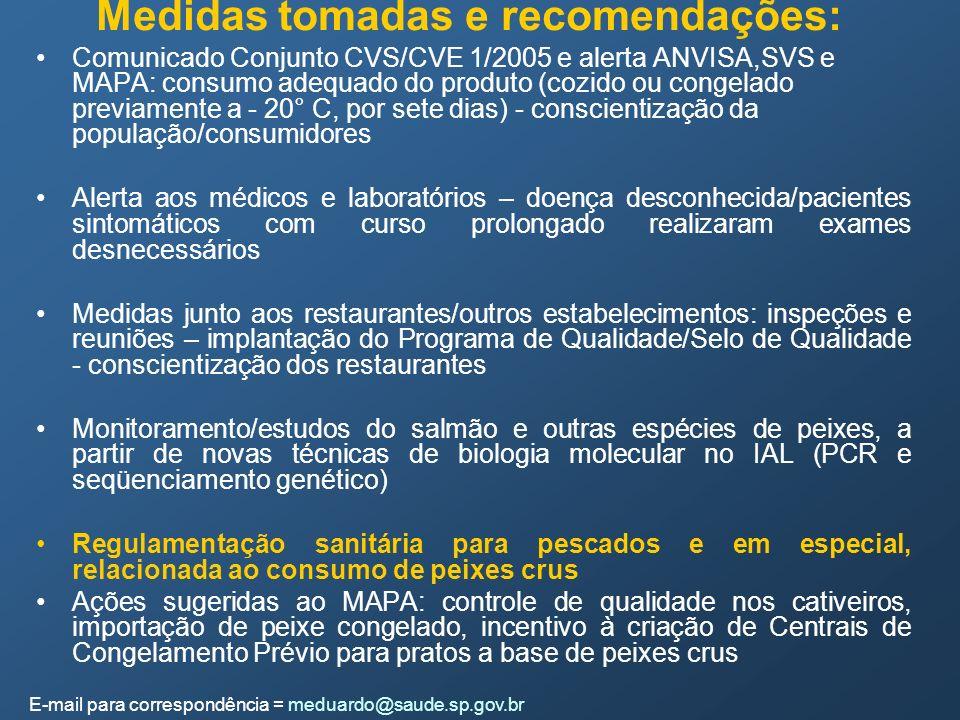 Medidas tomadas e recomendações:
