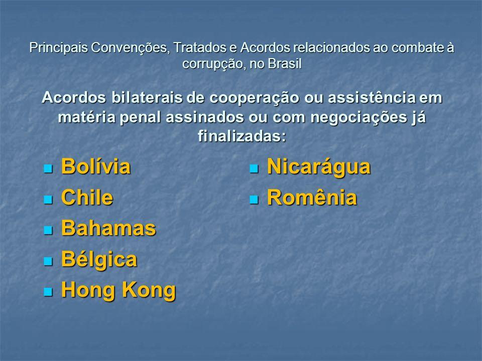 Bolívia Nicarágua Chile Romênia Bahamas Bélgica Hong Kong