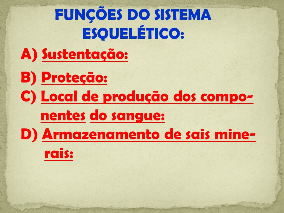FUNÇÕES DO SISTEMA ESQUELÉTICO: