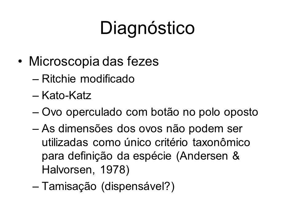 Diagnóstico Microscopia das fezes Ritchie modificado Kato-Katz