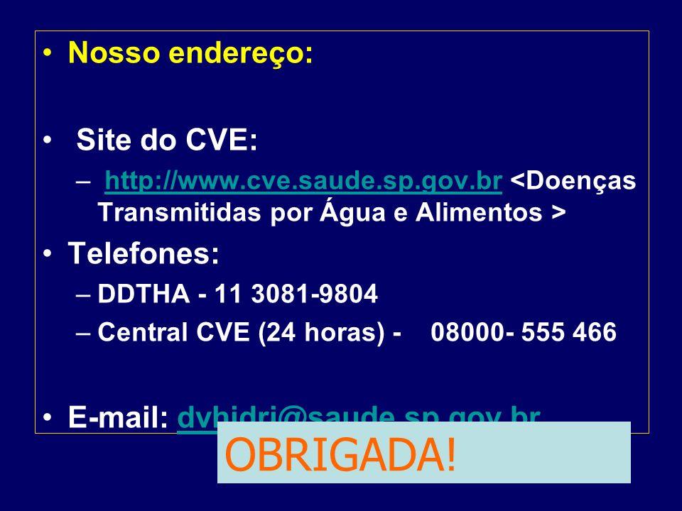 OBRIGADA! Nosso endereço: Site do CVE: Telefones: