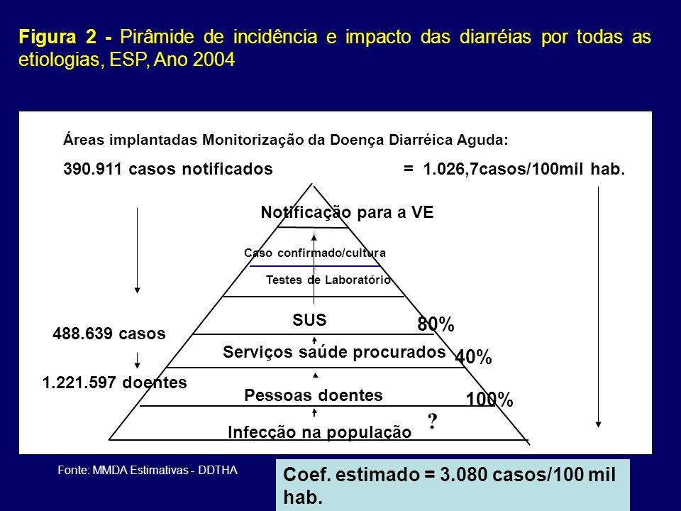 Figura 2 - Pirâmide de incidência e impacto das diarréias por todas as etiologias, ESP, Ano 2004