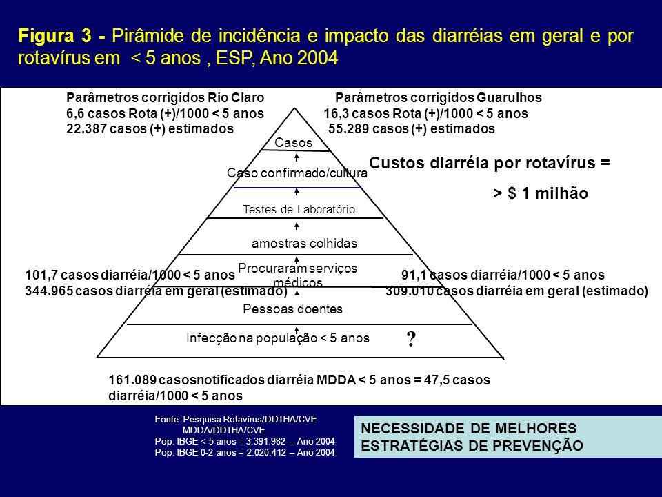 Figura 3 - Pirâmide de incidência e impacto das diarréias em geral e por rotavírus em < 5 anos , ESP, Ano 2004