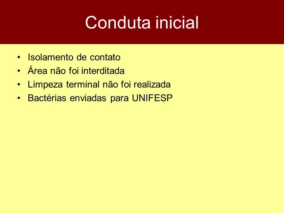 Conduta inicial Isolamento de contato Área não foi interditada