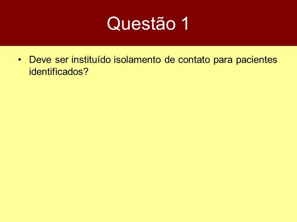 Questão 1 Deve ser instituído isolamento de contato para pacientes identificados
