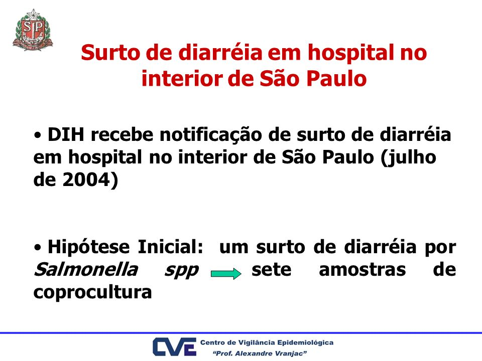 Surto de diarréia em hospital no interior de São Paulo