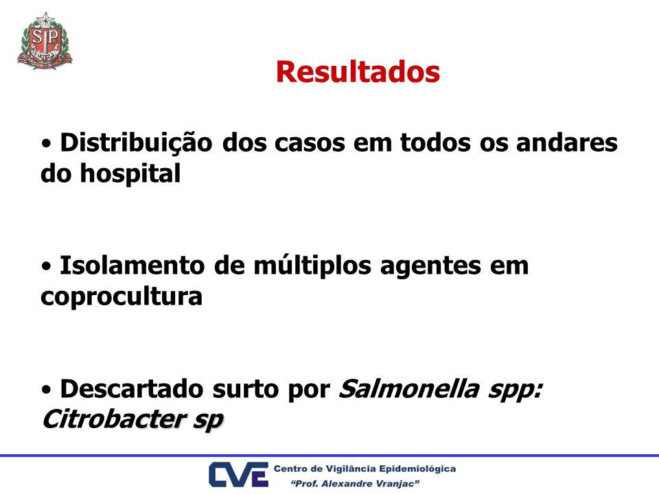 Resultados Distribuição dos casos em todos os andares do hospital