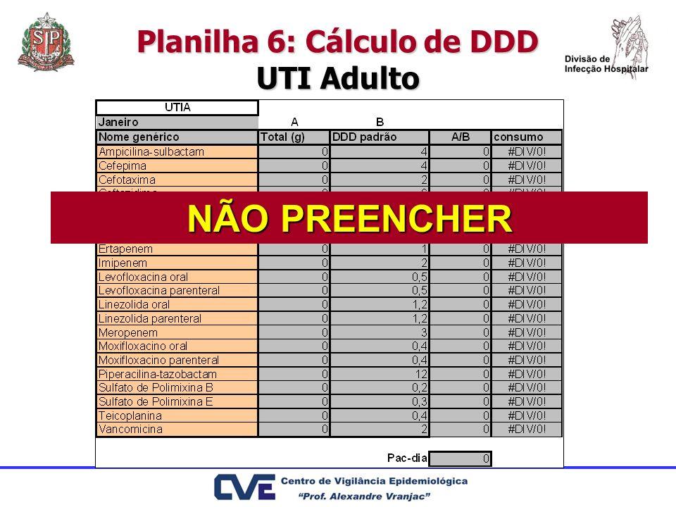 Planilha 6: Cálculo de DDD UTI Adulto
