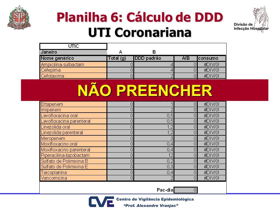 Planilha 6: Cálculo de DDD UTI Coronariana