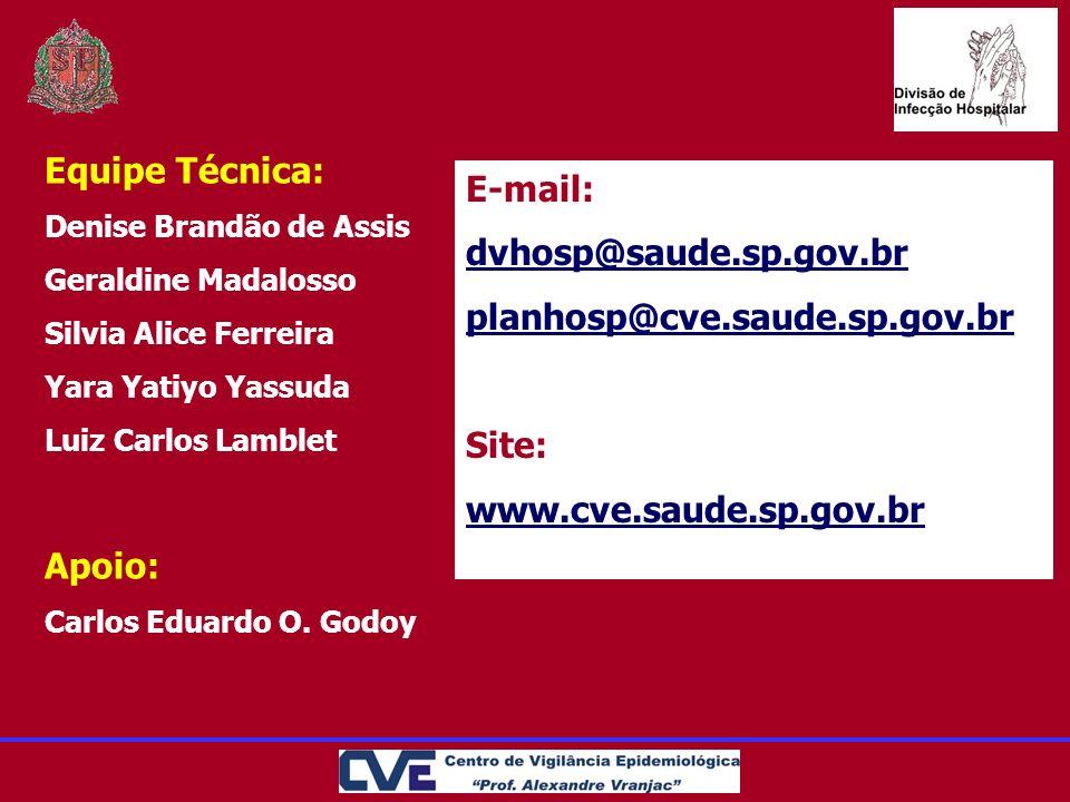 Equipe Técnica: E-mail: dvhosp@saude.sp.gov.br