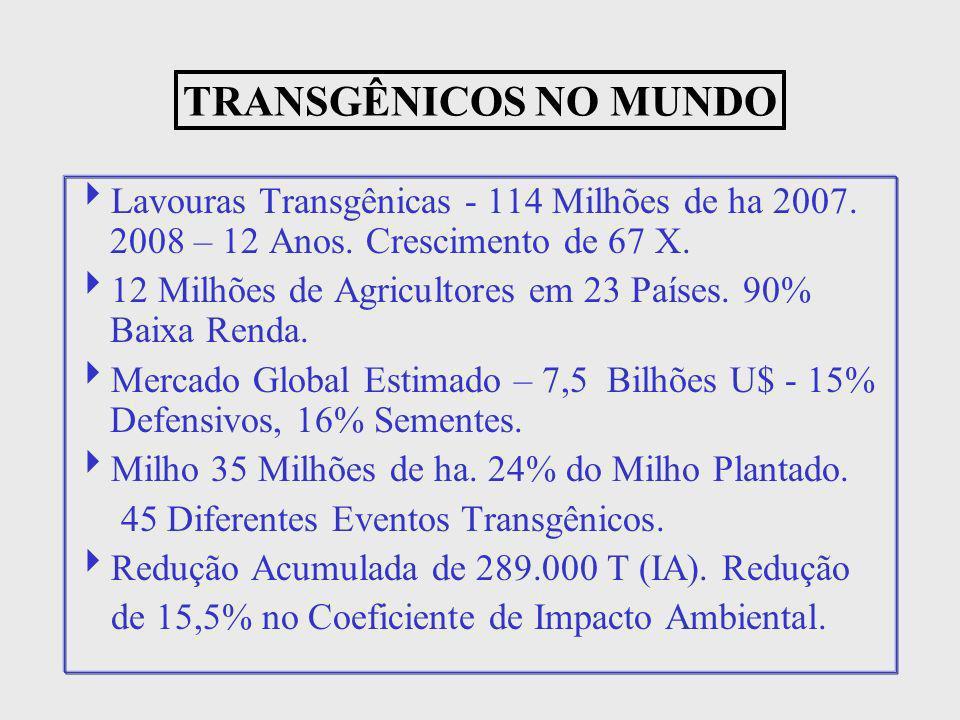 TRANSGÊNICOS NO MUNDO Lavouras Transgênicas - 114 Milhões de ha 2007. 2008 – 12 Anos. Crescimento de 67 X.