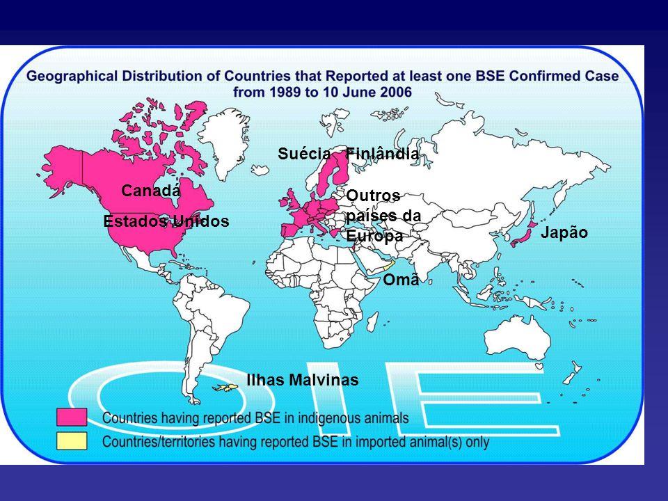 Suécia Finlândia Canadá Estados Unidos Outros países da Europa Japão Omã Ilhas Malvinas